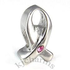 10pcs Rosy CZ Cancer Awareness Ribbon Silver European Bracelet Charm Beads W#209