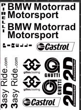 BMW S1000RR Sponsor kit Decals / Stickers BMW in BLACK Belly pan adesivi aufkleb