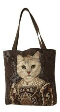 BELGIAN TAPESTRY LARGE SHOPPING TOTE BAG 46CM X 46CM, CAT WITH CROWN, DESIGN B