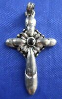 Cross With Rhinestone Religious Christian Sterling Silver Charm Pendant 925