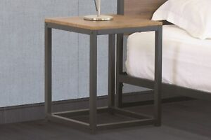 Wooden Side Table with Metal Frame Coffee Bedroom Living Room Furniture