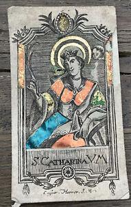 S. Catharina, Heiligenbild mit Gold Brokatpapier Hinterlegt um 1780 Andachtsbild