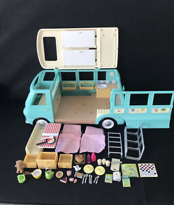 Sylvanian Families FLAIR Blue Campervan With extra Accessories, mostly complete