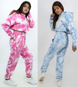 Women's 2pcs Tie Dye Crop Hoodie Top Trouser Lounge Wear Tracksuit Casual Set