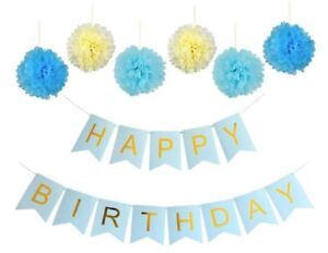 Happy Birthday Banner - Chic Garland - Blue with Gold Foil Lettering & Pom Poms