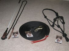 THOMEY NATURAL HORSE TRAINING SET~HIGH QUALITY~ HALTER+LEAD+STICK ~BLACK & WHITE