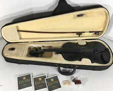 Black Mendini Solidwood Violin Size 4/4 With Case And Extra Strings