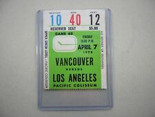 1977/78 VANCOUVER CANUCKS LOS ANGELES KINGS TICKET STUB SHARP DAVE TAYLOR ROOKIE