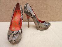 Get The Look - Womens Neutral / Orange Mock Snakeskin Stiletto Shoes - UK 3.5
