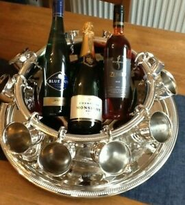 SILVER PLATE PUNCH BOWL/WINE COOLER ETC CUPS LADEL & TRAY LOVELY CENTER PEICE