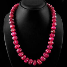 WORLD CLASS QUALITY 737.15 CTS EARTH MINED CARVED RED RUBY BEADS NECKLACE STRAND