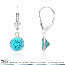 Bezel Set Round Blue Topaz Lever Back Dangle Earrings 14K Solid White Gold 1""