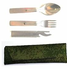 AUTENTIC Soviet and Russian Army Food Set Spoon / Fork / Knife-Opener with Pouch