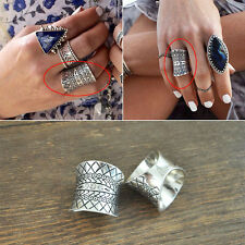 Womens Retro Punk Midi Ring Boho Gypsy Carved Crystal Antique Silver Plated Ring