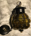 """Antique Caged Amber Bubble Glass Globe Swag Hanging Pendant Lamp  Light 15.5"""" L"""