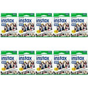 10 Packs 200 Instant Photos Fuji FujiFilm Instax Wide Film Polaroid Camera 300