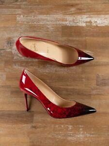 $775 CHRISTIAN LOUBOUTIN Decolette 554 red Loubi print patent pumps 8.5 US 38.5