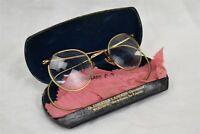 Antique Eye Glasses 1/10 12K Gold Filled Frame Bifocals Black Case San Francisco