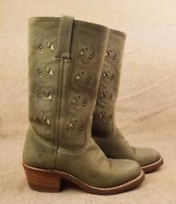 Frye 77035 Austin Flower Women Olive Green Leather Western Pull On Boots Sz 6 M