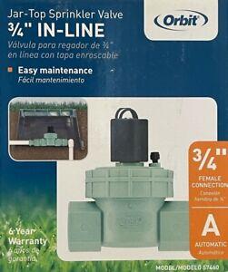 Orbit 3/4-inch In-Line Jar-Top Sprinkler Valve - 57460 - NEW
