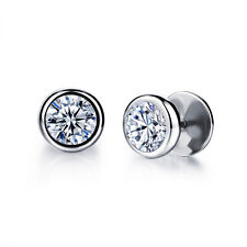 Round Cut Moissanite Silver Black Gold GP Surgical Stainless Steel Stud Earrings