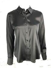 Kate Hill Silk Long Sleeve Blouse Size 10P Petite Black