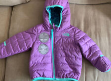 North Face Reversible Girls Purple Hooded Puffer Coat Size 12-18 months NWOT