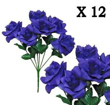 "(Pack of 12) Purple Microfiber Rose 14""Bush Wedding Party Home Decor Silk Flower"