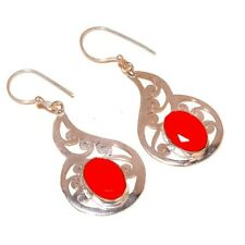 Faceted Red Coral Oval Gemstone silver plated Handmade Designer Earrings