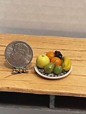 Perfect Artisan Plate of Fruit Decorated Pottery Plate Dollhouse Miniature 1:12