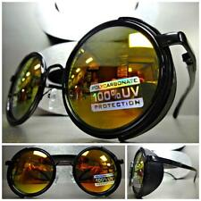 VINTAGE RETRO STEAMPUNK CYBER Round BLINDER Style SUN GLASSES Gold Mirror Lens
