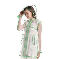 GREEN Vinyl Ladies Transparent Clear Rain Coat Mac Raincoat UK Casual Festival