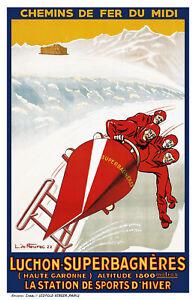 Affiche chemin de fer Midi - Luchon Superbagnères