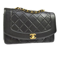 20b5c147689c Auth CHANEL Quilted CC Single Chain Shoulder Bag Black Leather VTG GHW  AK25642b