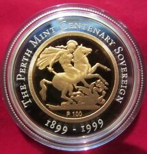 1999 The Perth Mint Centenary Sovereign Proof Issue $100, Gold and Silver Coin