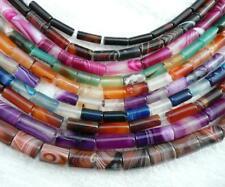 clearance-15.5'' green blue red purple agate tube 14x4 12x6 20x8 gemstone beads