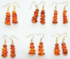 6 pcs BALTIC AMBER RUSSIAN EARRINGS GOLD 老琥珀 JEWELRY 100% NATURAL BEADS GEMSTONE