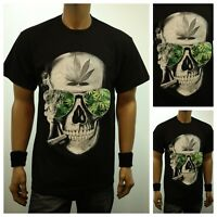 Weed Marijuana SKULL SMOKING Pot Printed Graphic T-Shirt Fashion Urban Tee