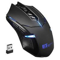 2400 DPI Wireless Gaming Mouse Optical Mice w/ Unique Click for PC Laptop Mac