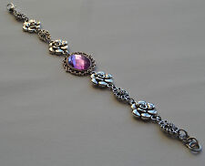 CAMELLIA FILIGREE VICTORIAN STYL FACETED LILAC PURPLE SILVER PLATED BRACELET CFB
