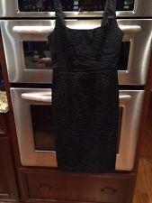 Diane Von Furstenberg Sexy Black Empire Waist Cocktail Dress Sz 2