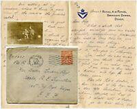 GB WW1 LETTER WOMENS RAF 1918 BETTY GARNER to R.C KING EEF +PHOTO SWINGATE DOWNS