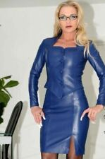 Genuine Leather Dress, Handmade Women Short Black Dress Plus Size Custom Made