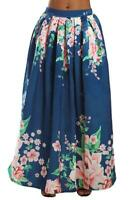 Navy Coral Floral Elegant Flared Women Maxi Skirt
