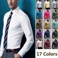 Luxury Men's Casual Dress Shirt Slim Fit T-Shirt Long Sleeve Formal Tops Size