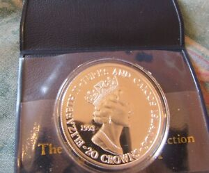 1993 Turks and Caicos Islands Silver Proof 20 Crowns Coin