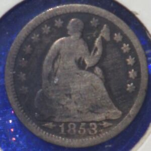 US 1853 Seated Liberty Silver Half-Dime with Stars & Arrows Obverse
