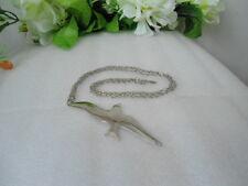 US Signed Aubrey Seagul Bird Stainless Steel Pendant Necklace Jewelry 1980 Nice