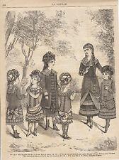 Gravure de mode ancienne  robes petites filles de 4 à 12 ans  no 3