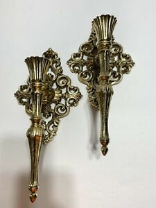 Vintage Brass Candle Wall Sconce Gold Tone Ornate Rococo Hollywood Set of 2